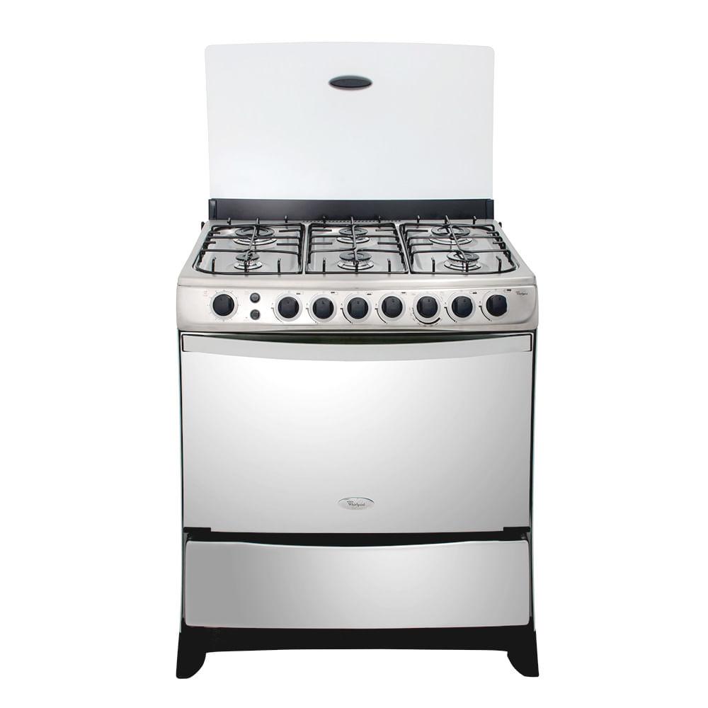 whirlpool cocina 32 6 hornillas weg80pctg3 plateado